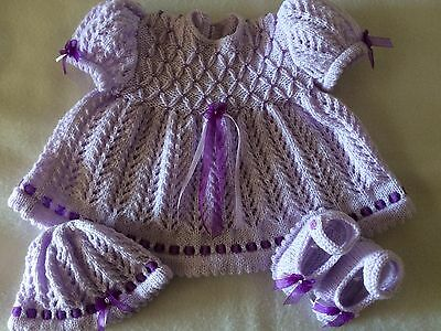 "Stunning Hand Knitted Beaded Dress Set 19/22"" Doll 0/3 Month Baby Girl"