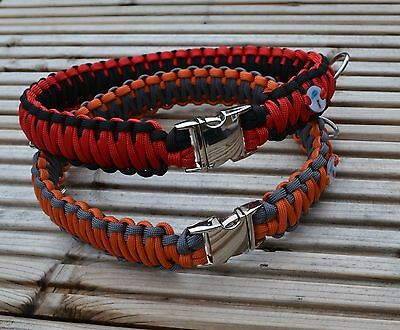 Paracord King Cobra Dog Collar with metal buckle and name tag