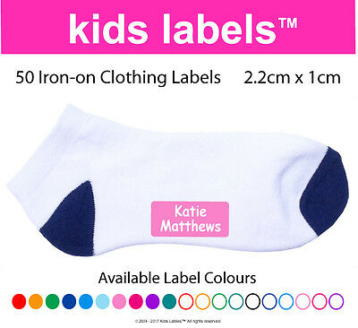 Kids Labels -  Qty  50 x Iron-on Clothing Labels  Back to School
