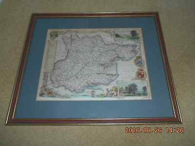Vintage Map of Essex by Thomas Moule, hand coloured,( Framed ) Circa 1850