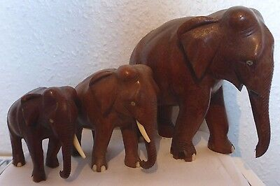 Set Of 3 Vintage Wooden Hand Crafted African Elephants (E3)