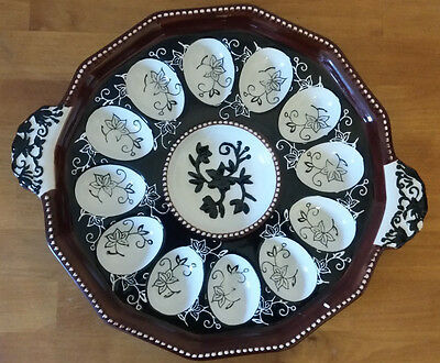 Temp-tations Floral Lace Deviled Egg Tray BLACK