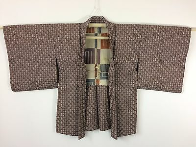Silk crepe authentic Japanese purple haori jacket for Kimono, with himo (I970)