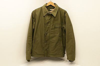 Mens Large vintage US Navy OD cold weather permable A2 deck jacket Chest 42 - 44