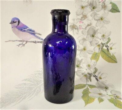 Vintage Bristol Blue Apothecary Bottle Pressed Glass Cork Stopper Collectable