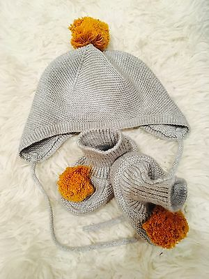Baby Boy/girl H&M Hat (6-12m) Knit & Booties (1-2.5) with mustard Pom Pom