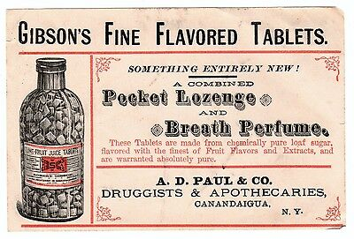 RARE Advertising Label? Trade Card? Gibson Tablets Druggist Canandaigua NY 1890