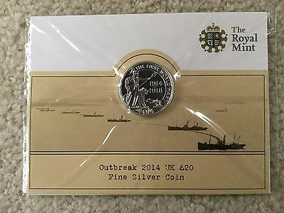 2014 Outbreak The First World War WW UK Royal Mint £20 Silver Coin Great Britain
