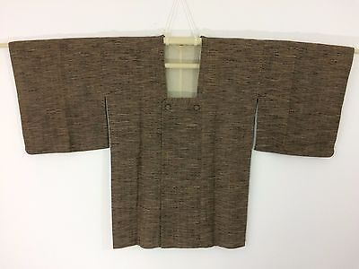 Authentic Japanese brown wool michiyuki jacket for Kimono, Japan import (G971)