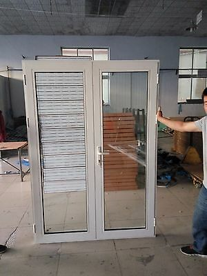 ALUMINIUM Double Gazed French Design Hinged Door 2100h*1410mm WHITE & GRAY COL