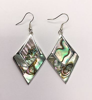 MEXICAN EARRINGS Sterling Silver Plated Mother of Pearl Abalone Diamond Design.