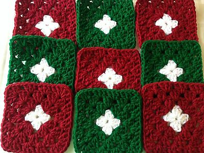 "20 4 1/2"" CHRISTMAS GREEN & RED Hand Crochet GRANNY SQUARES Throw Blanket Blocks"