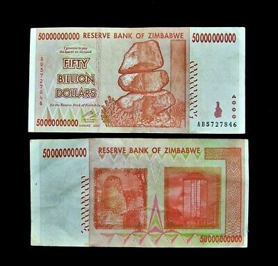 1 x Zimbabwe 50 Billion Dollar banknote -paper money currency