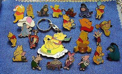 Disney Winnie the pooh - Eeyore - Tigger - Piglet pin badges & key rings charity