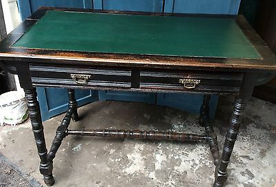 Mahogany And Leather Desk With Two Drawers