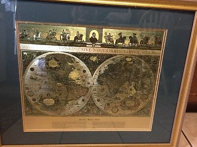 Framed Blaeu Wall Map of the Old and New World Gold Foil