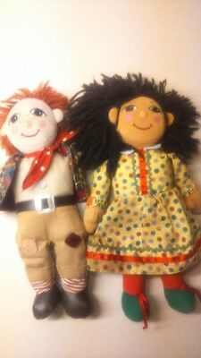 CUTE PAIR ROSIE AND JIM canal narrow boat ragdolls collectable beanie toy dolls