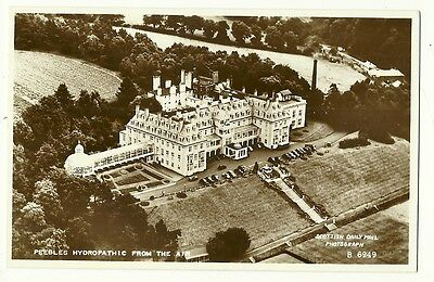 Peebles - a photographic postcard of Peebles Hydropathic from the air