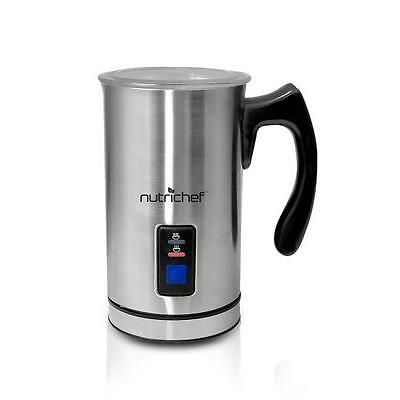 NutriChef PKMFR10 Electric Milk Frother and Warmer Stainless Steel