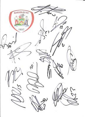 BARNSLEY SIGNED CRESTED CARD SHEET X 16  - Armstrong/Bradshaw/Kent