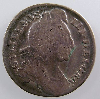 GREAT BRITAIN. 1696 AR Sixpence, William III. Spink# 3520. VG