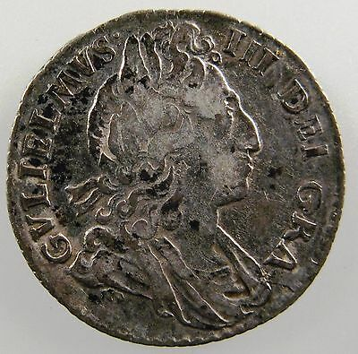 GREAT BRITAIN. 1699 AR Sixpence, William III, Roses rev. Spink 3547. F-VF Scarce