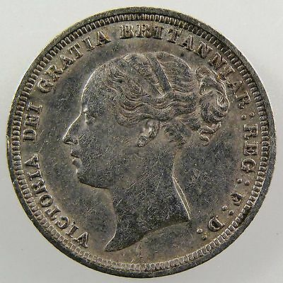 GREAT BRITAIN. 1883 AR Sixpence, Queen Victoria.  Extremely Fine. KM# 757