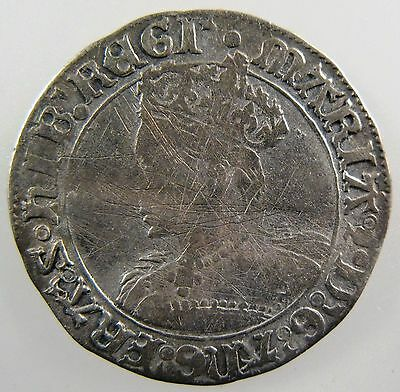 GREAT BRITAIN. 1553-1554,  AR Groat, Mary. MM: pomegranate, Spink# 2492 F-VF