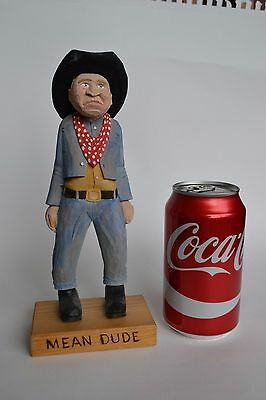 AWESOME MEAN DUDE Hand Carved Wooden Cowboy colored HARD TO FIND ONE OF A KIND