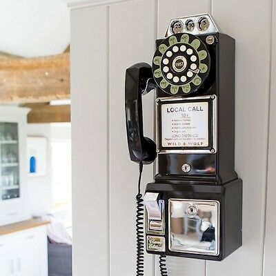 Retro 1950's Payphone American Diner Style Wall Phone In Black Push Button Dial