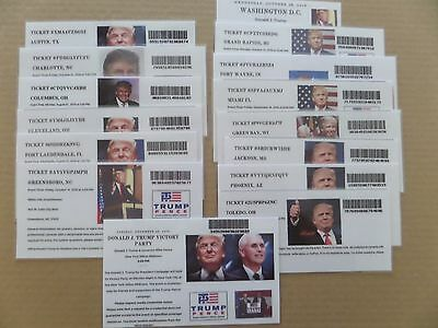 Donald Trump, Rally Ticks 2016, Lot Of 15 Events, East Coast To West, Rare Find