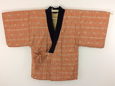 Authentic Japanese hanten jacket, padded housecoat , salmon colour, large (J974)