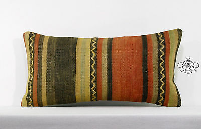 """Striped Pillow Cover Vintage Turkish Kilim Pillows For Couch 10x20"""" Pillowcase"""