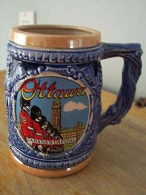 Vintage Made In Japan Souvenir Of Ottawa Beer Stein - Mounties At Parliament