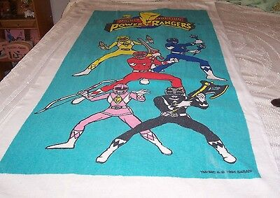"1994 Mighty Morphin Power Rangers Beach Towel - 58"" By 30"" - Used"