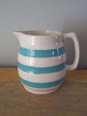 """Rare  4"""" Turquoise Striped Carrigaline Cream Pitcher - Made In Ireland"""