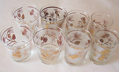 Lot Of 4 Libbey's Frosted Juice & Old Fashioned Glasses - Gold Pine Cone Design