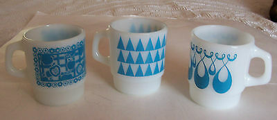 Lot Of 3 Vintage Anchor Hocking - Fire King Stacking D-Handle Coffee  Mugs