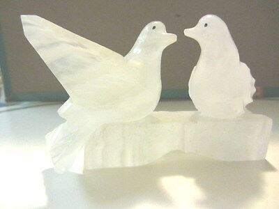 Pretty Pair of Frosted Glass Birds Art Sculpture facing each other on a platform