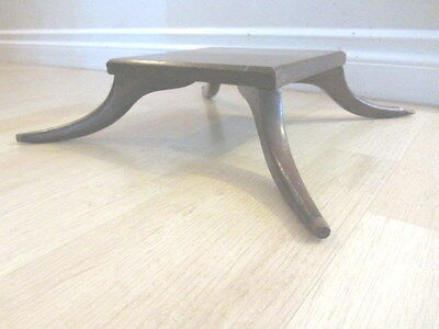Handmade ANTIQUE SOLID ? OAK WOODEN WOOD FOOT STEP STOOL w/ 4 ROUND CARVED LEGS