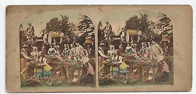 Stereo Stereoview Genre (THE QUACK DOCTOR - variant) Damen in Tracht ca. 1860