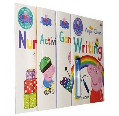 Peppa Pig Activity Books x4 Writing Numbers Learning Wipe Clean Set Ladybird