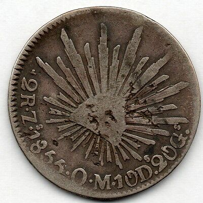 Mexico 2 Reales 1855 ZsOM (90.3% Silver) Coin
