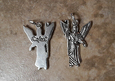 (2) Realistic Angel Charms Archangel Raphael Tibetan silver ships from US