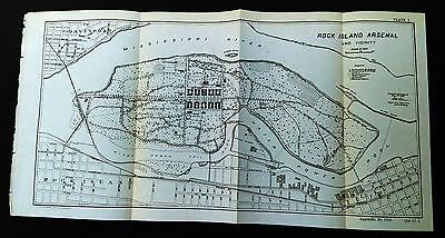 Original 1901 Map of Rock Island Arsenal and Vicinity Mississippi River IL