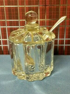 Vintage Glass Salt Cellar w/Lid & Vintage E.P.N.S.  Made in England Salt Spoon