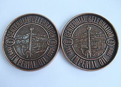 Imperial Oil Centennial Celebration 1880 to 1980 Calgary Set of Two Coasters