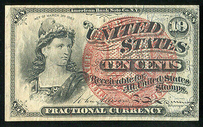 10 Ten Cents Fourth Issue Fractional Currency Note About Uncirculated