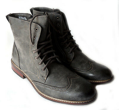 cb7d2ad9ba0a NEW MENS FASHION HIGH ANKLE BOOTS LACE UP WING TIP ZiPPERED DRESS SHOES GREY