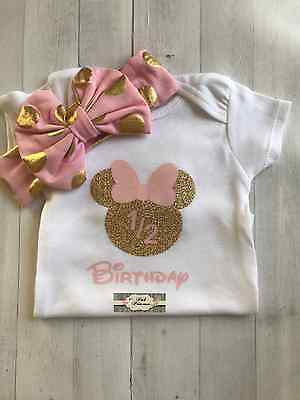 Minnie Mouse Pink & Gold Glitter Personalized Onesie Onesie ONLY Any Size